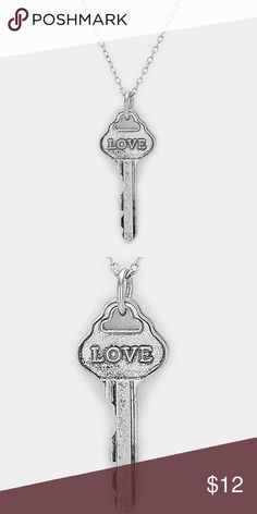 """Love"" Key Pendant Necklace • Color : Silver Burnished • Theme : Key&Lock, Love, Message  • Necklace Size : 21"" + 3"" L • Pendant Size : 1"" X 2"" • ""Love"" message key pendant necklace Jewelry Necklaces"