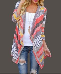 Fashionable Colorful Striped Nine-Minute Sleeves Cardigan For Women Sweaters & Cardigans | RoseGal.com Mobile