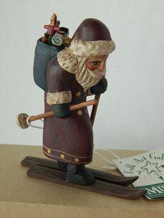 Santa Skier Midwest Of Cannon Falls Randy Tate Folk Art Rustic Skiing Christmas #MidwestofCannonFalls