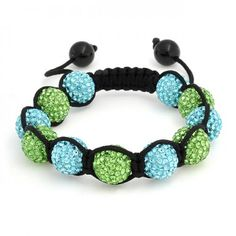 12mm Shamballa Inspired Bracelet Aquamarine Peridot Colored Crystal