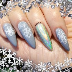 holographic snow flakes nail art design 12/14/2015
