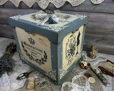 """Купить """"Manufakture"""" большой короб сосна - голубой, короб, короб для хранения, короб для кухни, коробка для мелочей"""