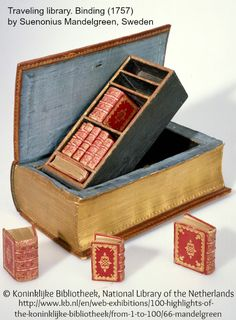 Small bookcase w/ MINIATURE BOOKS. Trompe L'oeil Book / Travel Case. Traveling library. Binding (1757) by Suenonius Mandelgreen, Sweden. Birth gift to a leading Zeeland family heir. Commissioned by 3 Middelburg citizens. © Koninklijke Bibliotheek, The Netherlands Nat'l Library..