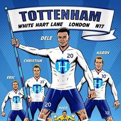 FAB FIVE of White Hart Lane Football Kane Dele Alli | Etsy Tottenham Hotspur Players, Dele Alli, White Hart Lane, Fab Five, Harry Kane, North London, Champion, Soccer, Club