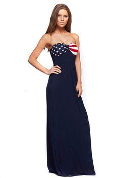 18ade41c829 American Flag Navy Blue Patriotic Design Maxi Dress Boutique Dresses