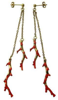 coral branchs earrings