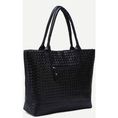SheIn(sheinside) Black Woven PU Tote Bag (€9,78) ❤ liked on Polyvore featuring bags, handbags, tote bags, pu purse, woven purse, handbags totes, tote hand bags and tote handbags