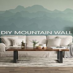 Here are a few quick tips to help you make a Mountain Mural in your home! Here are a few quick tips to help you make a Mountain Mural in your home! Creative Wall Painting, Wall Painting Decor, Mural Wall Art, Diy Wall Decor, Home Decor, Bedroom Wall Colors, Room Decor Bedroom, Wall Design, House Design