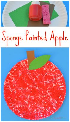 This sponge painted apple is a fun and simple fall kid craft. johnny appleseed   back to school   preschool   toddler   paper plate   letter A