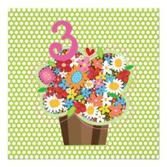 fatfatin Spring Flowers Cupcake Birthday Party Announcement