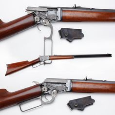 "Marlin Model 1892 rifle-This rifle is one of about 45,000 made from 1895 to 1916. The removable sideplate for this rifle makes it easy to see how the bolt reciprocates back & forth as the lever is opened & closed. The short ""throw"" angle of the lever, about 45 degrees to open completely, also means the cartridges in this action have to be fairly short in length. It is chambered for .22 rimfire rounds and also .32 rimfire/centerfire cartridges & could fire either rimfire or centerfire…"