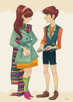 Dipper and Mabel as hipsters.