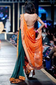 Beautiful #Pakistani Green & Saffron #Saree #Fashion