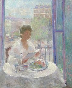 Lady Reading à une peinture Open Window - - Clémentine Hélène Dufau