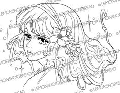Nouveau Flowers Girl Digital Stamp, PNG, Shoujo Digi Stamp, Nature Fairy, Anime, Floral Fantasy, Adult Colouring Page, Instant download