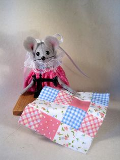 Felt Mouse at her Sewing Machine Sewing a Quilt by atticmouse, $13.00
