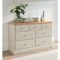 Remi Shabby Chic Chest Of Drawers NOW £479.99 - The new Remi bedroom collection brings the appeal of painted #furniture with contrasting oak top for a true twist on country style. This #shabby #chic chest ensures beauty and elegance in abundance.