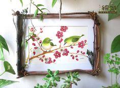 押し花イラスト 梅とメジロ(小枝のフレーム付き)
