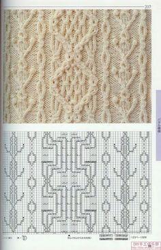 Японская книга узоров (спицы) 207 - picturest. Knitting Stiches, Cable Knitting, Knitting Charts, Knitting Socks, Hand Knitting, Crochet Wool, Crochet Bear, Stitch Patterns, Knitting Patterns