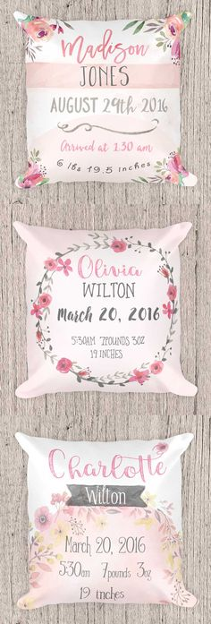 Personalized Birth Announcement Pillow, Nursery pillow, Baby Shower Gift, Person… – Knitting And Crochet Baby Food Combinations, Diy Baby Headbands, Birth Announcement Girl, Baby Birth Announcements, Babies R, Personalized Pillows, Personalized Baby Gifts, Before Baby, Textiles