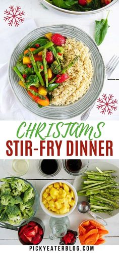 This healthy Christmas Stir-Fry Dinner is tossed with fresh veggies, tofu and quinoa. It's a simple dinner to make for your faily, with festive holiday colors!