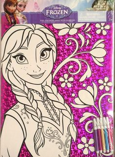 """Disney Frozen Anna Coloring BIG Poster Set w/ Markers 15"""" X 11"""" OVER SIZED!~NEW~ #DisneyFrozen Great Coloring, craft idea, looks cute in a poster frame (super cheap & low prof      hung up on the wall in my nieces bedroom, she loves Anna and Disney Frozen and with the low profile poster frame it keeps a neat look while still displaying her artwork!! Super cheap S/H prices here!"""