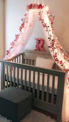Ideas for Baby Girl Nursery Walls . Ideas for Baby Girl Nursery Walls . Nursery Bedding Sets, Baby Bedroom, Baby Room Decor, Nursery Room, Nursery Grey, Girl Nursery Purple, Floral Nursery, Rustic Nursery, Baby Girl Bedding Sets