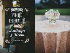 Metallic Wedding with Pink Cadillac Getaway Car