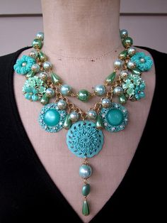 RESERVED+Vintage+Flower+Necklace+Wedding+Jewelry+by+rebecca3030