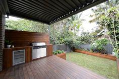 The Block - Vergola Outdoor Bbq Kitchen, Outdoor Kitchen Design, Outdoor Kitchens, Outdoor Landscaping, Backyard Patio, Patio Roof, Backyard Ideas, Barbacoa, The Block