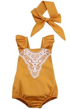 Autumn Gold Yellow Romper Headband Set Tutu by SouthernBabyDesign