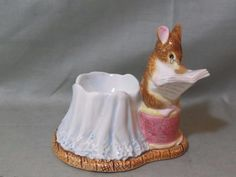 Beatrix Potter Egg Cup Tailor of Gloucester Reading A Book Enesco 638331 Vintage Egg Cups, Vintage Easter, Gloucester, Beatrix Potter, Kitchen Items, Famous People, Childhood, Bunny, Eggs