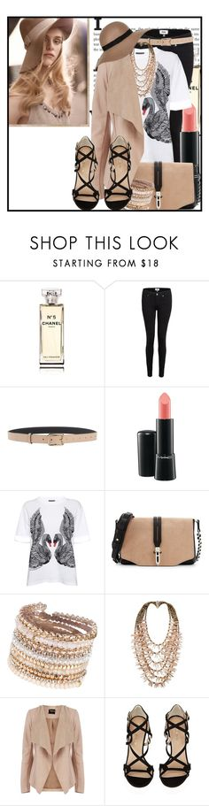 """Fedora Beige"" by hushedxangel ❤ liked on Polyvore featuring Chanel, Paige Denim, Patrizia Pepe, MAC Cosmetics, Alexander McQueen, rag & bone, ALDO, First People First, Oasis and Kurt Geiger"