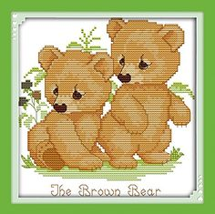 Good Value Cross Stitch Kits Beginners Kids Advanced  Brown Bear 11 CT 10X10 DIY Handmade Needlework Set CrossStitching Accurate Stamped Patterns Embroidery Home Decoration >>> You can find more details by visiting the image link.