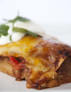 Cheesy Pork Enchiladas / @DJ Foodie / DJFoodie.com