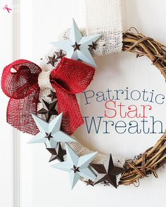 Craft a DIY patriotic wreath with this step by step tutorial using a grapevine wreath, wooden star accents, and burlap ribbon. MichaelsMakers Positively Splendid