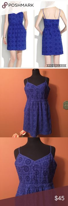 Madewell Cami Dress In Eyelet Sunflower Madewell Cami Dress In Eyelet Sunflower, Size 14, Adjustable straps, back zipper. In good condition. PRODUCT DETAILS An instant party favorite, this pretty eyelet dress combines form, function and fun. Fitted at waist. Cotton. Madewell Dresses