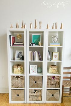 Ruth Allen�s Light Filled Loft on The Everygirl; like the use of bookshelves and baskets