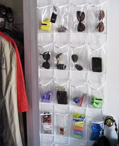 decluttered! Hung in hall closet for Bradley's sunglasses, sunblock, gloves, sanitizing wipes, etc. life-saver!