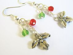 Christmas Mistletoe Earrings Holiday by Abundantearthworks on Etsy, $9.00