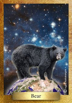 Bear* is sacred in many cultures & symbolizes bravery, strength & confidence. Bear is an ancient spirit animal worshipped in many traditions including the Vikings who dressed in bear skins during war to scare enemies. Bear is a powerful totem animal connected to shamans & healers. * One of the 48 cards in the EcoHeartOracle.com - this is a brief description and not the complete oracle meaning.