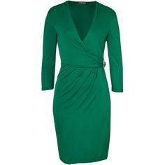 ROBERTO CAVALLI Emerald Green Draped Dress With Brooch ($920) ❤ liked on Polyvore