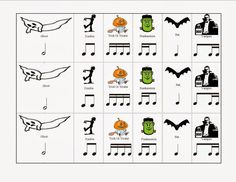 Musical Musings--Match Mine: A Halloween Rhythm Rumble Preschool Music, Music Activities, Teaching Music, Music Games, Movement Activities, Music Lessons For Kids, Music Lesson Plans, Piano Lessons, Halloween Music