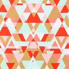 Coral, Mint & Gold Triangle Apparel Fabric