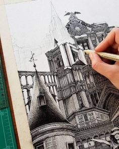 Japanese Artist Draws Architecture That Will Make You Lean in Real Close to See Every Detail : Architectural Detail Drawings Architectural Details Emi Nakajima Detailed Drawings Architecture Drawing Sketchbooks, Art Et Architecture, Landscape Architecture Drawing, Architecture Details, Parametric Architecture, Architecture Portfolio, Cityscape Drawing, City Drawing, Drawing Art