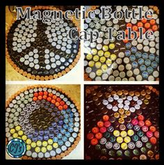 Magnetic Bottle Cap Table - Better than resin tables because you can change out the design! From Crafty June's.