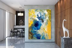 """See our website for additional details on """"abstract art paintings acrylics"""". It is actually an outstanding spot for more information. Blue Abstract Painting, Yellow Painting, Abstract Wall Art, Abstract Paintings, Extra Large Wall Art, Office Wall Art, Street Art Graffiti, Texture Painting, Abstract Photography"""