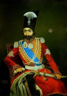 Portrait of Nasser al-Din Shah Qajar (1831–1896), king of persia  Date1857  AD (1273  AH)  Medium:oil on copper, artist:Bahram Kirmanshahi (Persian, 19th century),   Louvre Museum, Paris France.