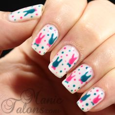 Nail Art: Polka Dot Bunnies Wearing Bow Ties (OPI GelColor)- Perfect for Easter! | Manic Talons