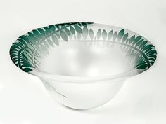 Junction Art Gallery - Rosie Sutcliffe 'Sprig Bowl' blown, etched and sandblasted glass £120.00 http://www.junctionartgallery.co.uk/artists/glass/rosie-sutcliffe/sprig-bowl-jade